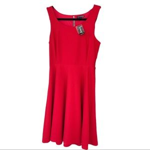 NWT Express Red orange Textured Fit n Flare Dress